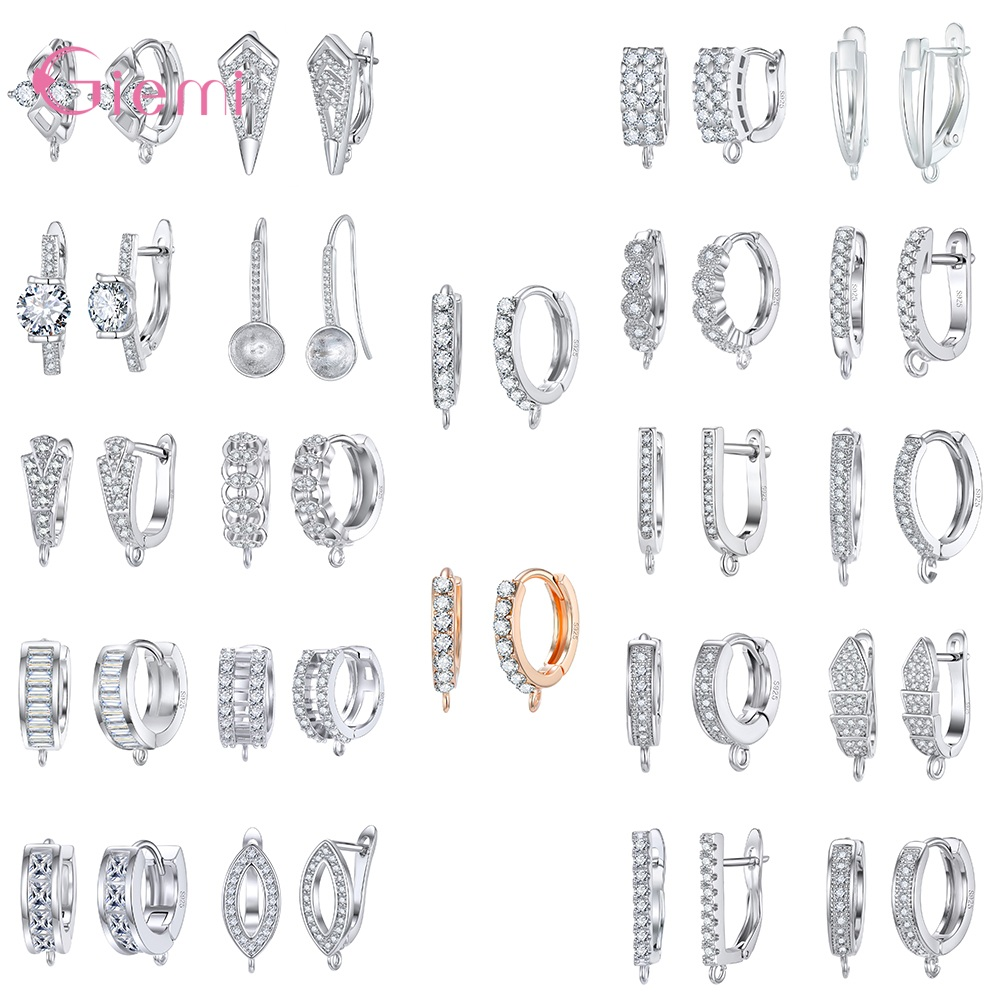 925 Sterling Silver DIY Earring Findings Cubic Zircon Clasps Hooks Fittings DIY Jewelry Making Accessories Hook Earwire Jewelry