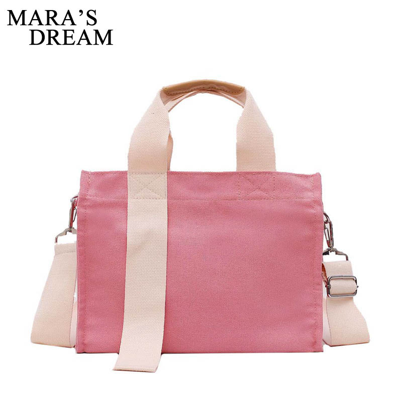 Mara's Dream 2019 New Canvas Bag Female Solid Color Shoulder Bag Large Capacity Student Wild Handbag
