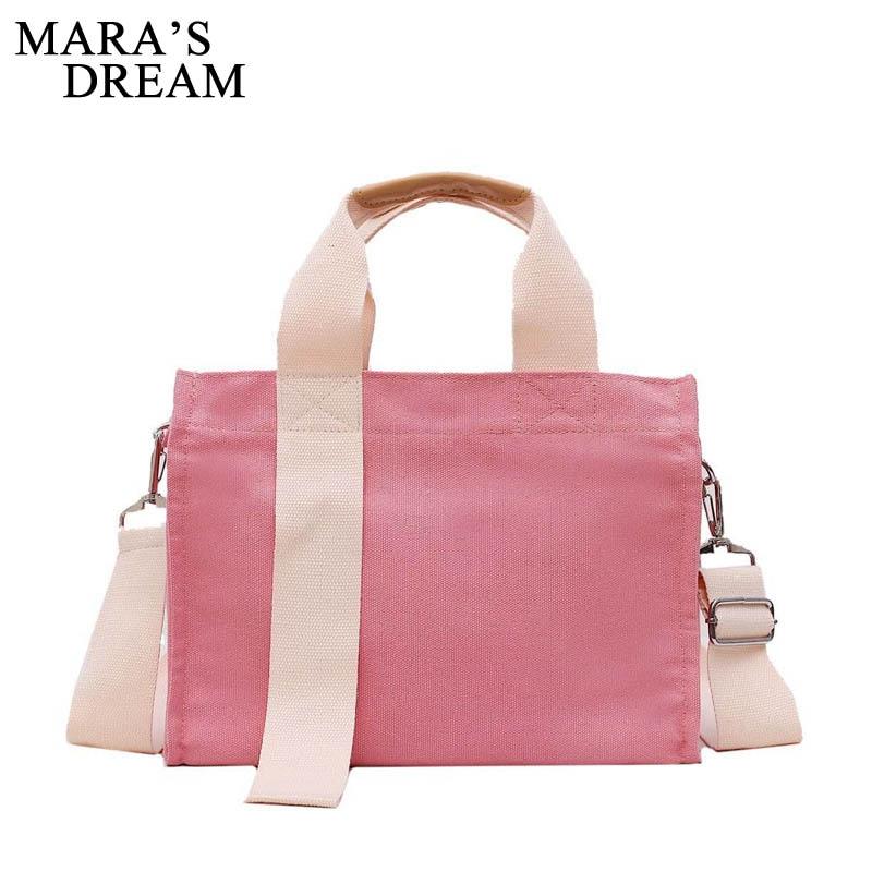 Mara's Dream 2019 New Canvas Bag Female Solid Color Shoulder Bag Large Capacity Student Wild Handbag