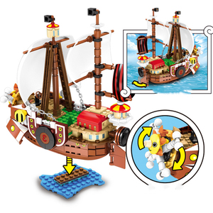 Image 2 - 432pcs One Pieces Building Blocks Thousand Sunny Pirate Ship Luffy Blocks Model Techinc Idea Figures Toys for Children