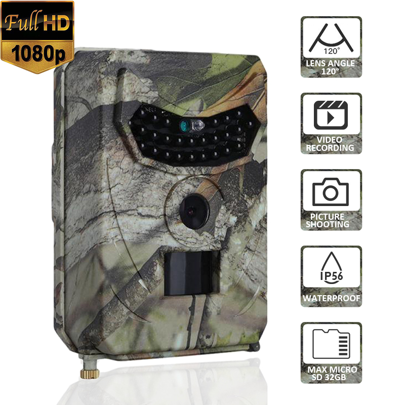 PR100 1080P HD Infrared Hunting Camera Photo Trap 12MP 120 Degree Lens Angle Wildlife Trail Thermal Camera