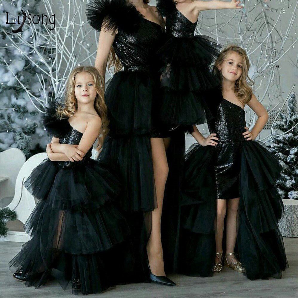 2020 Pretty Black High Low Flower Girl Dress One Shoulder Sequin Pageant Dresses For Girls Ruffles Tutu Kind Party Dress