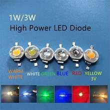 100 pces 1 w 3 w de alta potência led lâmpada diodos smd 110-120lm led chip para 3 w-18 w ponto luz downlight quente branco frio verde azul