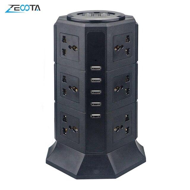 Usb Power Strip Verticale 8/12 Eu/Uk/Us/Au Stekker Universal Outlet Sockets Charger Surge Protector 6.6ft/2M Verlengsnoer