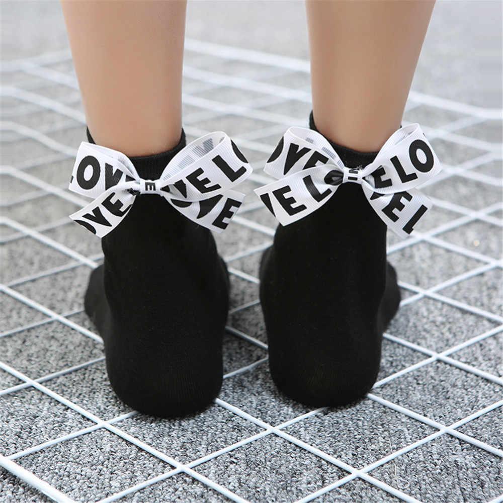 אופנה נשים כותנה קשת אהבת מכתב גרבי calcetines mujer skarpetki damskie אסתטי גרבי meia feminina קוריאני סגנון נשים
