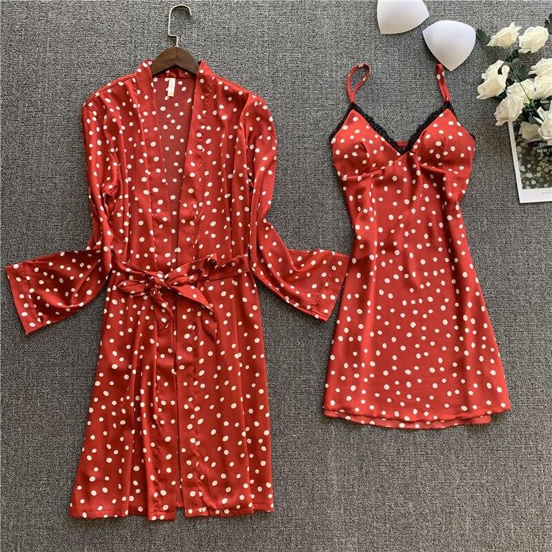 Sexy Pajamas Women's Sling Robe Imitation Silk Printing Two-piece Suit Silk Pajamas Long Sleeve