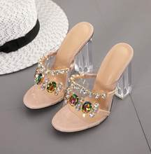 Summer Fashion Crystal Diamond Slides Clear PVC Transparent Slippers Women Shoes Peep Toe High Heels Mules Dress Pumps(China)