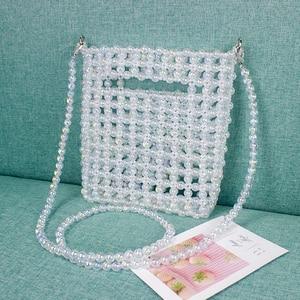 Image 5 - Markowe torebki markowe wykonane ręcznie wyszywane koralikami Retro torba z perłami tkane Mini kobiece przekątna torba na telefon komórkowy nowa torba wieczorowa kopertówka