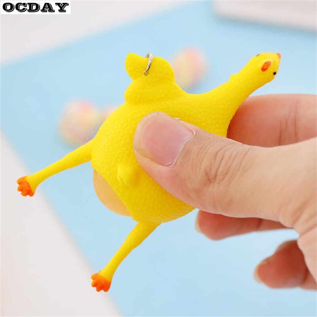 OCDAY 참신 짜기 누워 계란 암탉 치킨 장난감 환기 치킨 전체 계란 재미 있은 장난감 키 체인 안티 스트레스 장난 장난감 아이들을위한