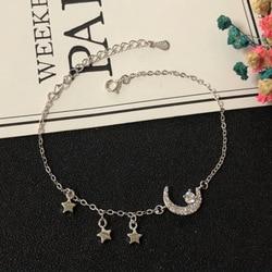 S925 pulsera de plata esterlina Simple de moda estrella luna