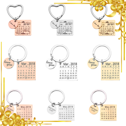 Personalized Calendar Keychain Engraved with Your Date Text Signature Keyring Hand Stamped Date with Heart Customize Key Chain