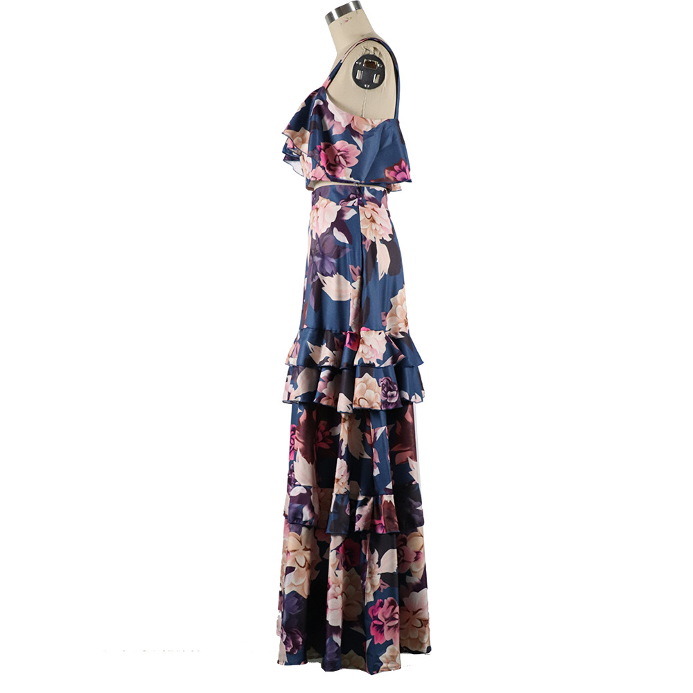 H35332848865043f1b43034ecf73d3aeaL - Women Summer Boho Beach Two Piece Set Sexy Skirt Set Crop Top+Maxi Long Skirt Floral Printed Ruffles High Waist Casual Two Piece