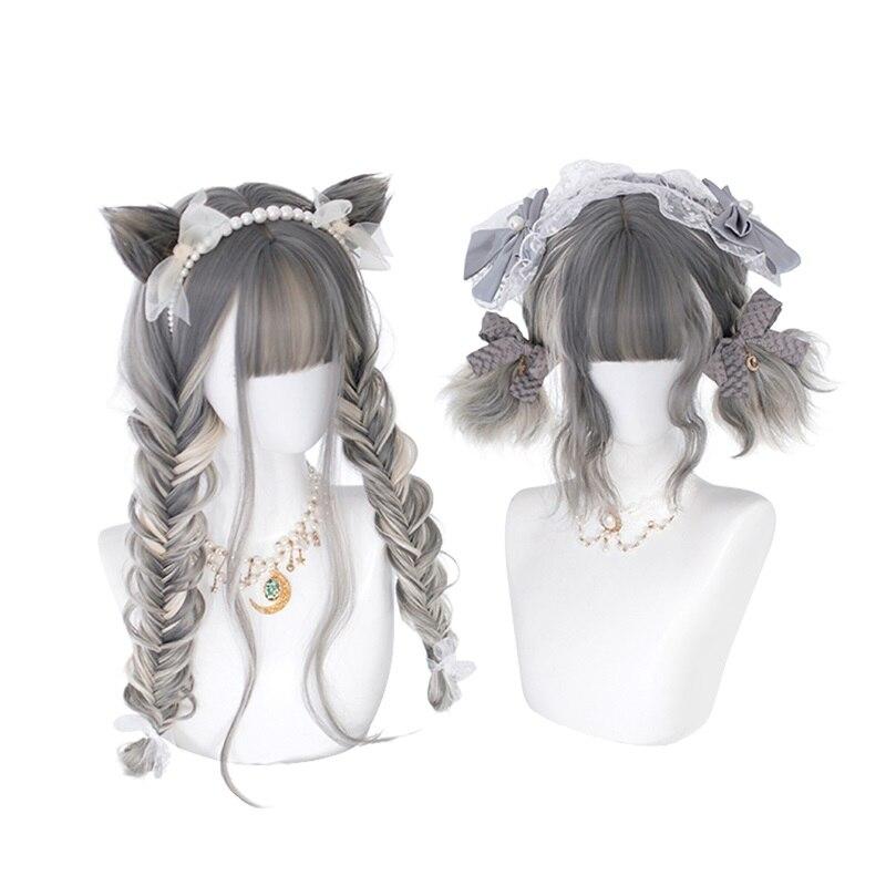 Cosplaysalon-Peluca de pelo largo ondulado para Cosplay, 30/65CM, estilo Lolita, Rubio, mezclado, gris, degradado, corto, Bob, flequillo, gato, para Halloween