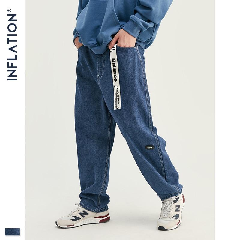 INFLATION 2019 Autumn New Modis Jeans Men Loose Straight Blue Jeans Pants Men Casual Simple Denim Jeans Men 93356W