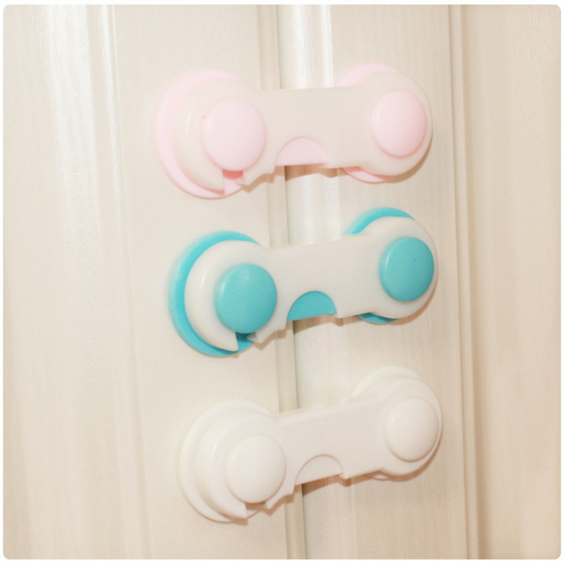 2pcs/pack Plastic Baby Safety Lock Door Drawers Wardrobe Toddler Kids Safety Cover Closet Door Latch Pink Blue White Locks