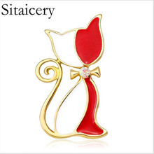 Sitaicery Cute Cat Brooch Black Red Side By Child Animal Gift Backpack Clothing Pendant Jewelry