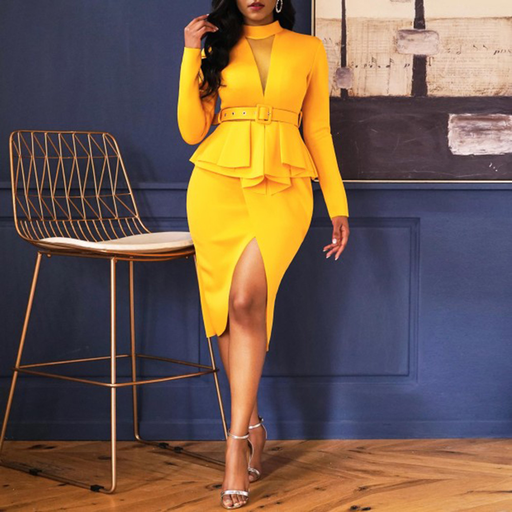Ruffled Tiered Cocktail Party Dress Women Bodycon Elegant Office Dresses Front Split High Neck Long Sleeve Fake 2-Pieces Dress