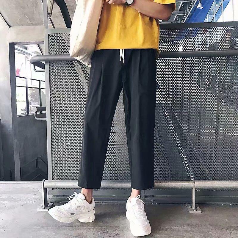Capri Pants Korean-style Trend Men 9 Points Casual Pants Hong Kong Style Versatile Loose-Fit Pants BF Style Straight-Leg Trouser
