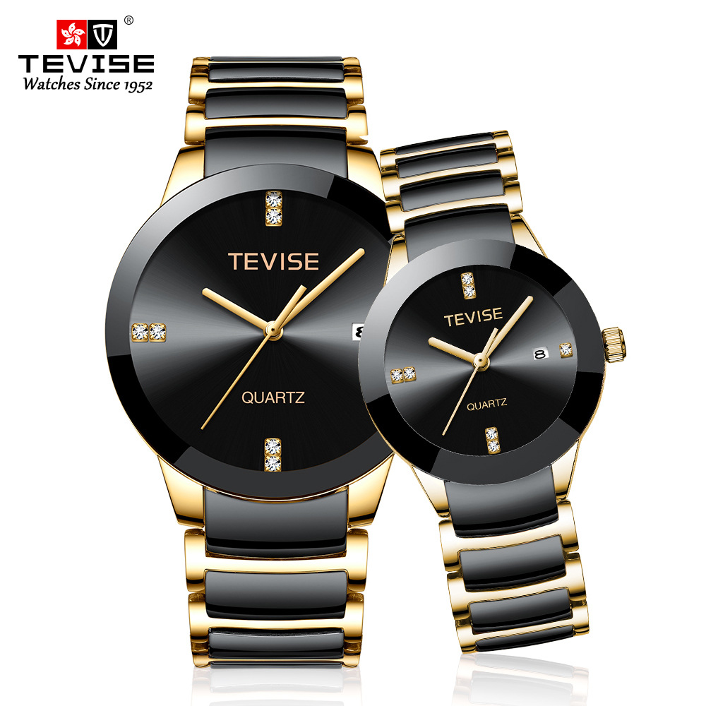Couple Watches TEVISE T845 Fashion Lovers Watches Men Women Luxury Quartz Wristwatch For Lovers Unisex Watch Montres Femme 2020