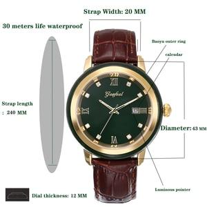 Image 3 - ヒスイ腕時計メンズダークグリーンダイヤルカレンダー表示自動クォーツ時計と証明書革ボックスレロジオmasculino 2020