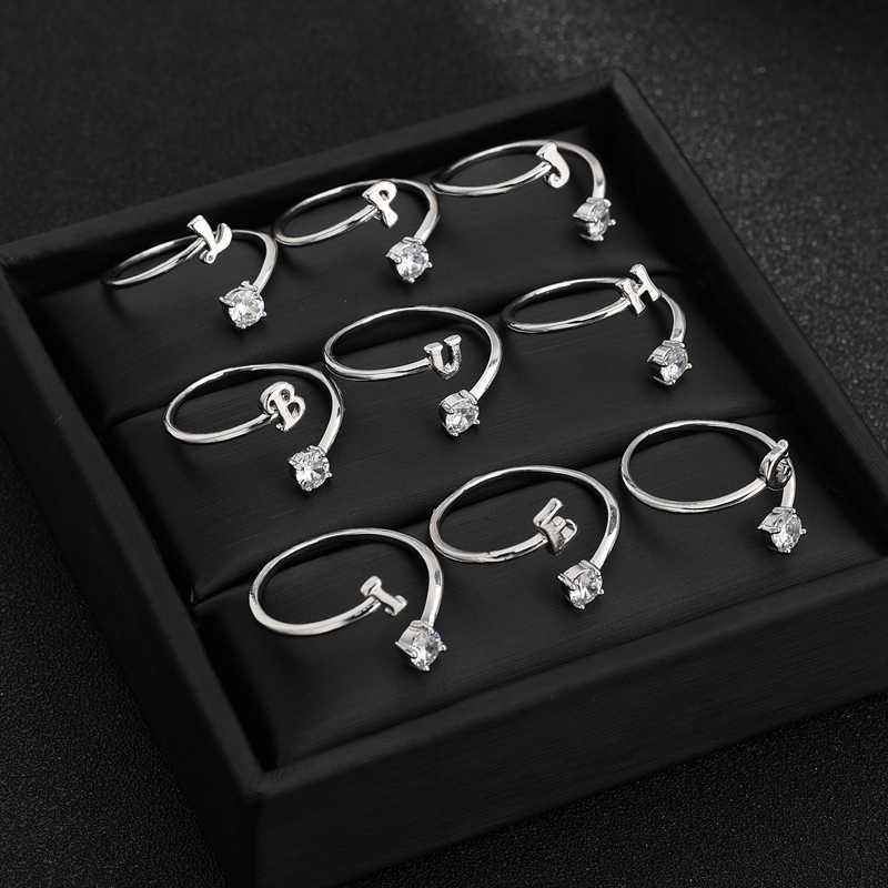 ใหม่แฟชั่น Initials A-Z แหวนทองและ Silver Zircon แหวนสตรีเครื่องประดับ Charming ปรับนิ้วมือแหวนเครื่องประดับ