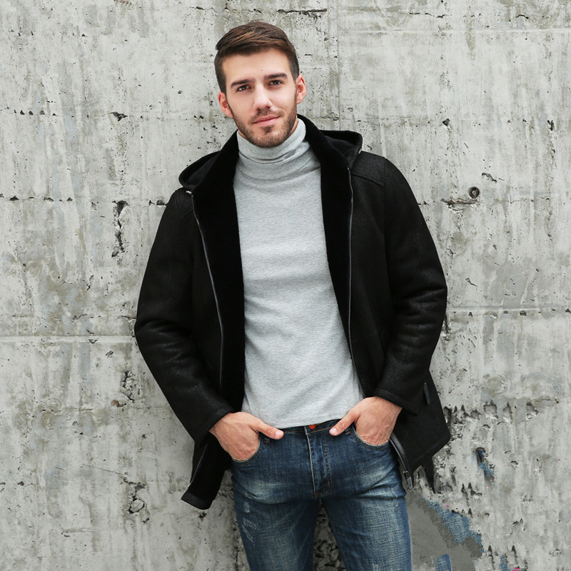 Genuine Leather Jacket Long Winter Jacket Men Natural Wool Fur Coat Sheepskin Leather Jacket SF-21816 MY760