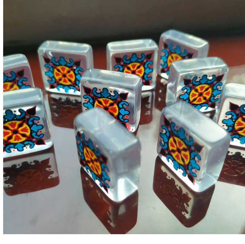 Jogo de tabuleiro de caizhu, quebra-cabeça colorido transparente de acrílico, acessório ambiental, jogo de quebra-cabeça engraçado com bolsa