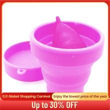 كوب حيض من السيليكون معقم طبي قابل لإعادة الاستخدام تعقيم كأس حيض نسائي صحي يمكن طيه كأس حيض للنساء