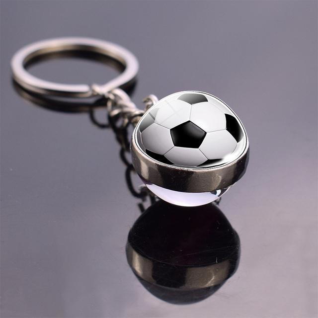 Soccer Lover Keychain Football Glass Ball Key Chain Top 32 World Countries Flag Keychain Key Ring Soccer Fans Gifts