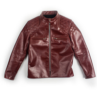 HARLEY DAMSON Red Brown Men Slim Fit Biker's Leather Jacket Size XXL Genuine Horsehide Autumn Short Motorcycle Leather Coat