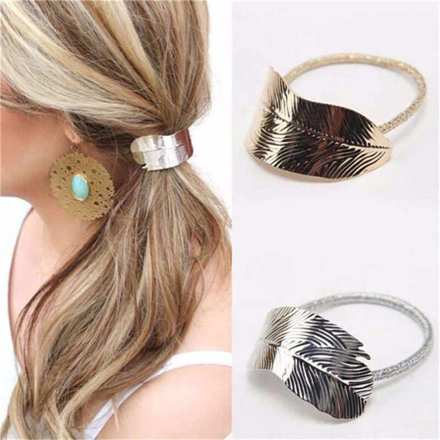 1 pc moda sexy feminino lady leaf hairband corda bandana elástico rabo de cavalo titular festa de férias hairband acessórios para o cabelo