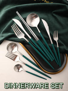 Dinnerware-Set Tableware Spoon Cutlery Green Chopsticks-Fork Blackish Gold Western