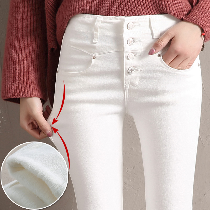 Women Velvet Jeans Denim Pant 2019 Winter Female Sexy Elastic Stretch Thick Warm Skinny Velvet Denim Pencil Pants Jeans Trousers