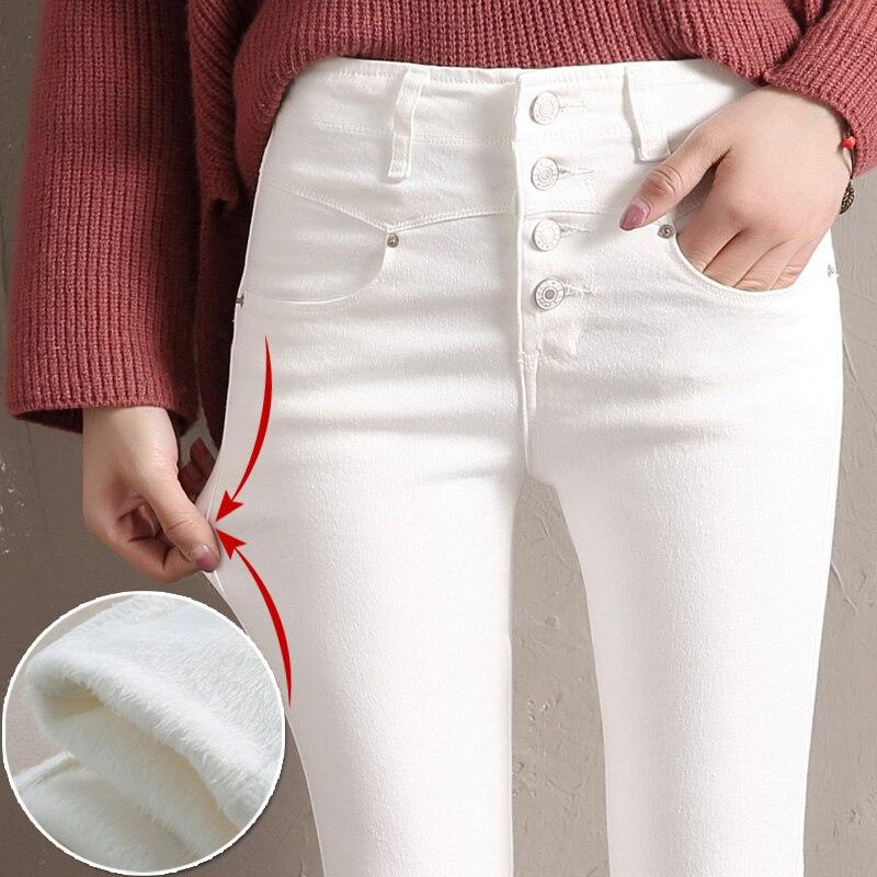 Women Velvet   Jeans   Denim Pant 2019 Winter Female Sexy Elastic Stretch Thick Warm Skinny Velvet Denim Pencil Pants   Jeans   Trousers