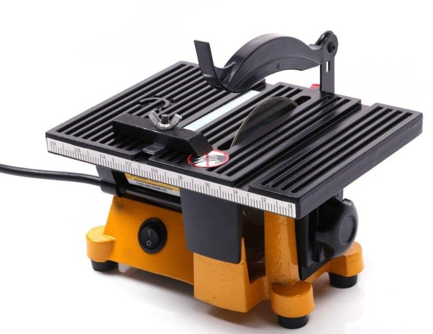 Mini table saw manual woodworking DIY model electric polishing cutting tool aluminum circular saw blade 220