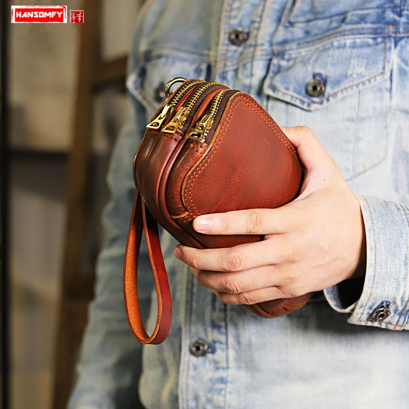 Origional Handmade Stitching Genuine Leather Men Clutch Bag Large Capacity wallets Multilayer Zipper MEN'S Cowhide Casual bags