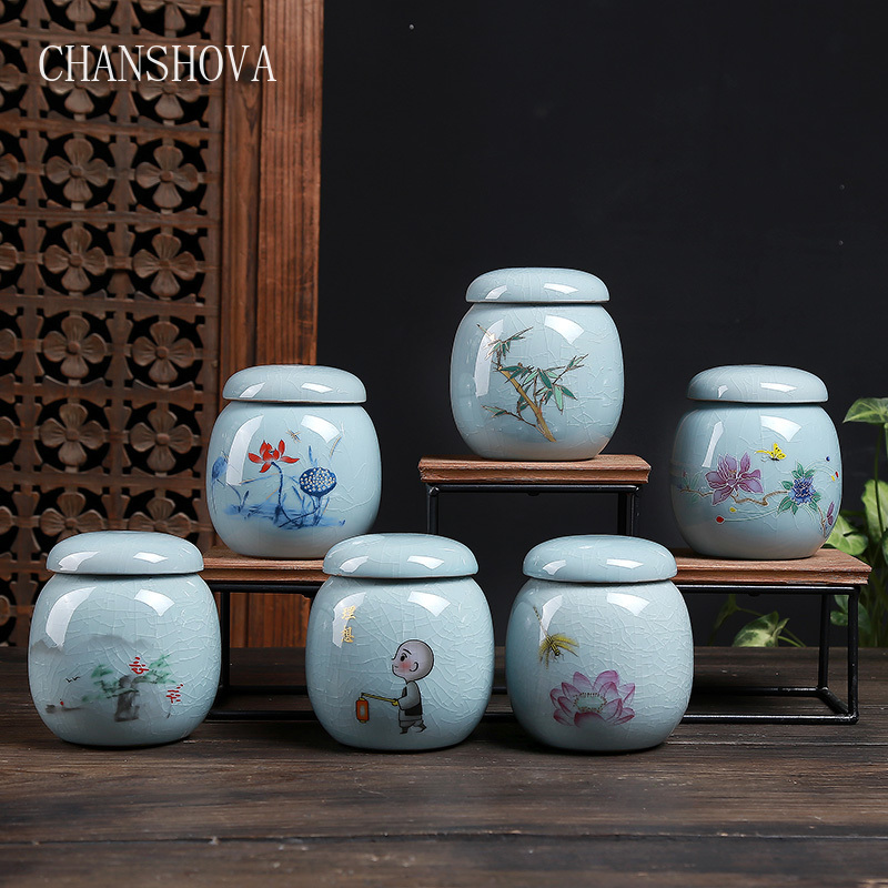 CHANSHOVA Traditional Chinese Style Multiple Patterns Crackle Ceramic Tea Box Caddy Sealed China Tea Storage Container H283|Tea Caddies| - AliExpress