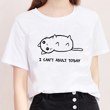Cat I CAN'T ADULT TODAY Print Ulzzang Streetwear Graphic Shirt Tops 90s White Short Sleeve Kawaii Vogue Harajuku T-shirts