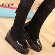 BYQDY Sexy Woman Knee High Boots Women Soft Flat Waterproof Winter Womens PU Leather Platform Slim Shoes Slip On Black