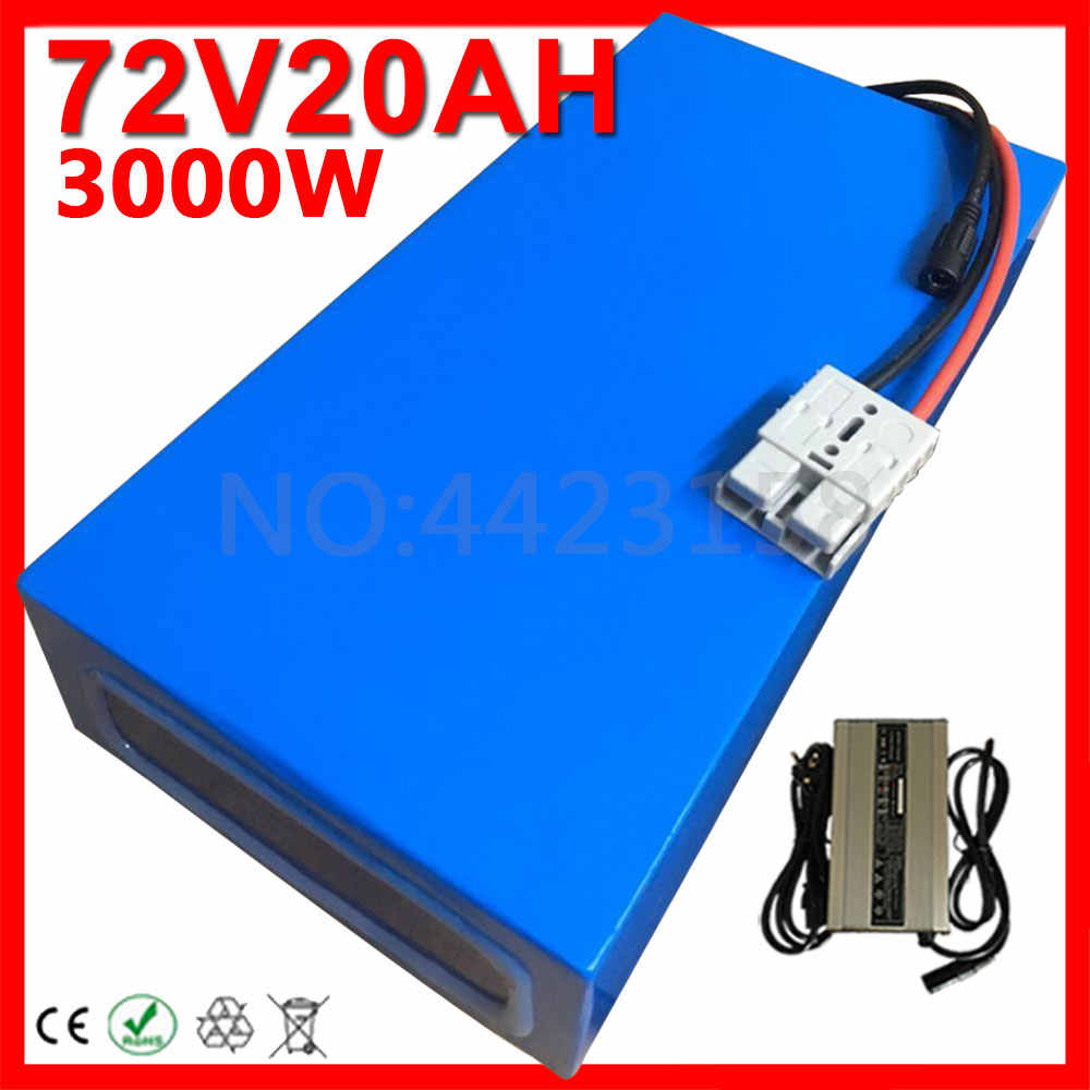 72V 2000W 3000W Battery 72V 10Ah 12Ah 13Ah 15Ah 16Ah 18Ah 20Ah Electric Bicycle Lithium Battery with BMS + 84V Charger Duty Free