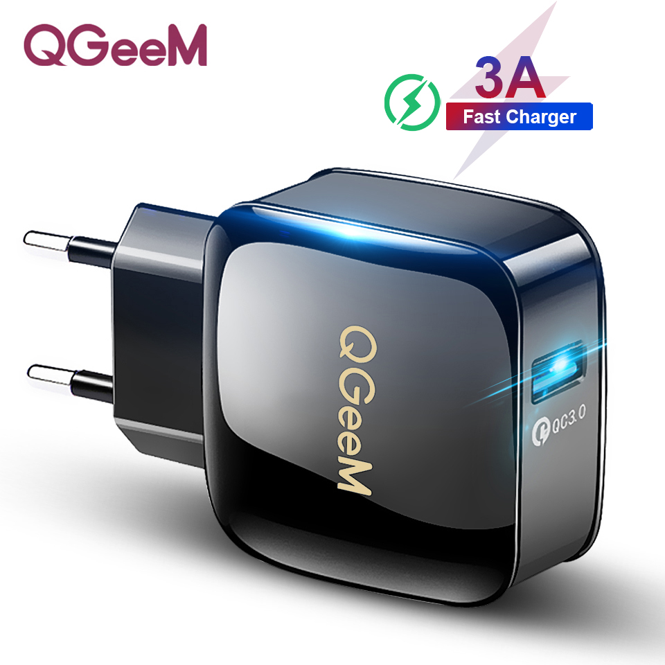 QGEEM QC 3.0 USB Charger Quick Charge 3.0 Phone Charger for iPhone 18W3A Fast Charger for Huawei Samsung Xiaomi Redmi EU US Plug-in Mobile Phone Chargers from Cellphones & Telecommunications