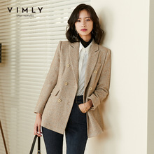 Vimly Vrouwen Blazer Retro Double Breasted Solid Wol Jassen 2020 Herfst Winter Notched Werkkleding Jassen Dames Uitloper F3125