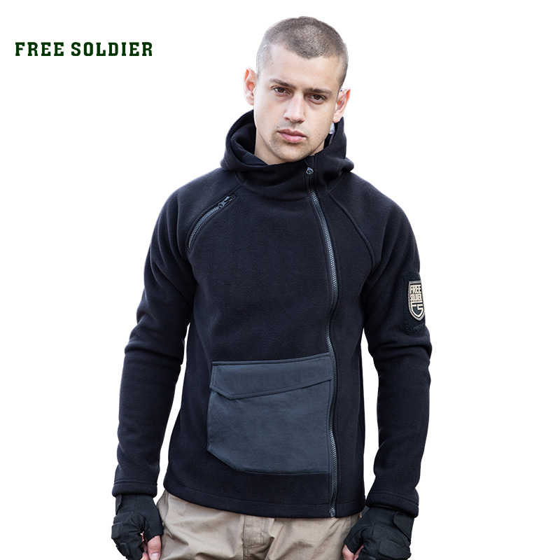 FREE SOLDIER Tactical Outdoor Fleece Hiking Jacket Autumn Windproof Thick Warm Jacket  Soft Camping Hoodie Coat