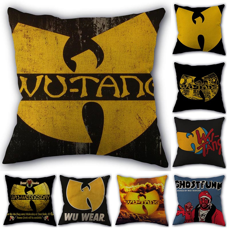 Custom Pillow Cover Wu Tang HOT SALE Square Zipper Cotton Linen Pillow Cases 45X45cm Bedroom Home Office Decorative Pillowcase