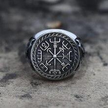 Retro mitologia punk masculino jóias nordic viking totem anéis duplo machado bússola odin símbolo anel para homem ele