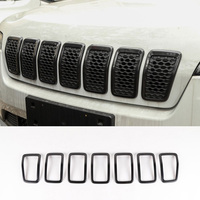 DWCX 7Pcs Car Black ABS Front Grille Cover Trim Ring Fit for Jeep Cherokee 2019