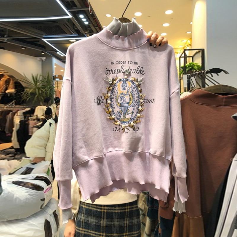 Korean Style Hoodies Woman New Spring Temperament Turtle-Neck Sweatshirt Student Beaded Embroidery Pullovers Hoodie Tracksuit