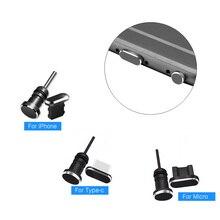 Пылезащитные заглушки для порта зарядки Type-C/Micro/Lightning и разъема для наушников к телефонам iPhone/Android, 2 в 1, металлические