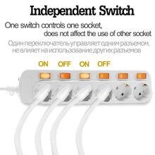 Barre d'alimentation ue 3/4/5/6AC, prise de courant ue, 2USB, Protection contre les surcharges, interrupteurs de commande indépendants, adaptateur d'extension électrique