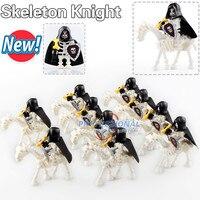 10 pçs ax9815 castelo medieval esqueleto cavaleiros gladiatus esqueleto cavalos blocos de construção tijolos brinquedos ax9815